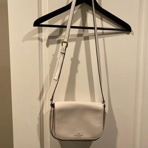 Kats spade white purse with nude braid detail